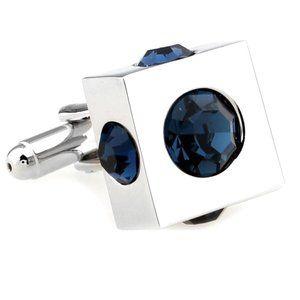 NEW Dark Blue Cubed Crystal Cufflinks